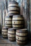 Stack vintage barrels Stock Image
