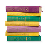 Stack of vintage books in a green and yellow cover Royalty Free Stock Photography