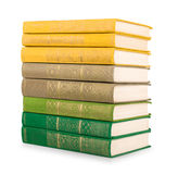 Stack of vintage books in a green and yellow cover Stock Photography