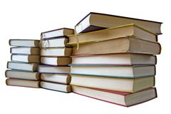 Stack of vintage books, isolated stock image
