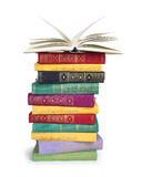 A stack of vintage books with open top Royalty Free Stock Images