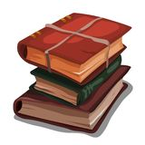 A stack of vintage books tied with a rope isolated on white background. Vector cartoon close-up illustration. vector illustration