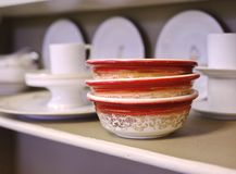Stack of Vintage Bowls Royalty Free Stock Photos