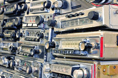 Stack of vintage car's radio Royalty Free Stock Image