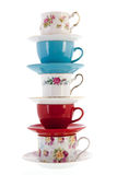 Stack vintage coffee or tea cups Royalty Free Stock Photography