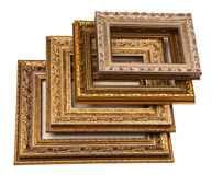 Stack of vintage frame. Isolated on white Royalty Free Stock Photo