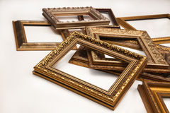 Stack of vintage frame on white background. Stack of vintage frame isolated on white background Royalty Free Stock Images