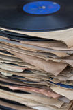 Stack of vintage gramophone records. selective focus Stock Image