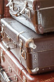 Stack vintage leather suitcases closeup Royalty Free Stock Photo