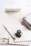 Stack of vintage letters on wooden table stock photos