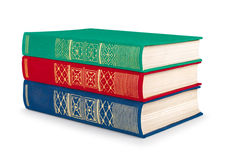 Stack of vintage red, green and blue books Royalty Free Stock Images