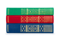 Stack of vintage red, green and blue books Royalty Free Stock Image