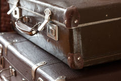 Stack of vintage retro suitcases closeup Stock Images