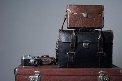 Stack of vintage shabby suitcases Royalty Free Stock Photography