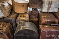 Stack of vintage suitcases. For loading Royalty Free Stock Photo