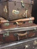 Stack of vintage suitcases. Royalty Free Stock Photo
