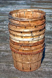 Stack of Vintage Wood Baskets for Crab Fishing Stock Photo