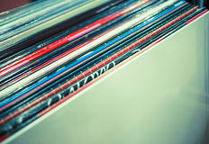 Stack of vinyls. Music background - stack of vinyls Royalty Free Stock Photography