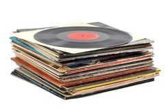 Stack of vinyls on a white background stock images