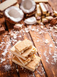 Stack of wafer sandwiches Stock Photo