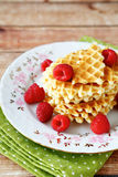 Stack of waffles with raspberries Royalty Free Stock Photo