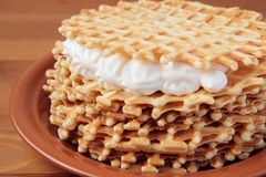 Stack of waffles with whipped cream Royalty Free Stock Photo