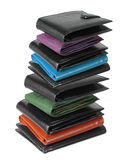 Stack of Wallets. On White Background Stock Photography