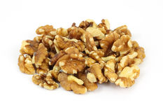 Stack Walnut Pieces and Halves. A great view of bulk walnut pieces and halves stock images
