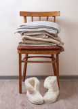 Stack of warm clothes Stock Photos