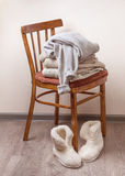 Stack of warm clothes Stock Image