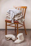 Stack of warm clothes Royalty Free Stock Photo