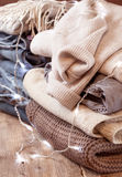 Stack of of warm clothes Royalty Free Stock Image