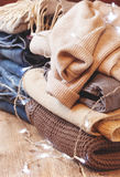 Stack of of warm clothes Stock Photo
