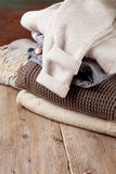 Stack of of warm clothes Stock Photography
