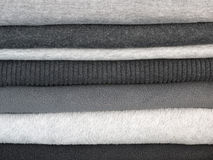 Stack of warm gray clothes Royalty Free Stock Photo