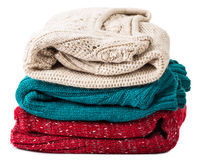 Stack of warm sweaters Royalty Free Stock Photo