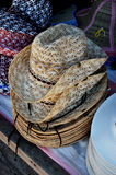 Stack of Weaved Hats Royalty Free Stock Image