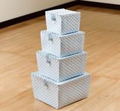Stack of weaved plastic baskets Royalty Free Stock Photos