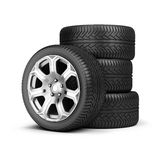 Stack of wheels. 3d image. White background Stock Photography