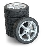 Stack of wheels on white. Background. 3d illustration Stock Photos