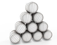 Stack of white barrels Royalty Free Stock Photo