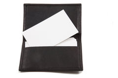 Stack of white blank card in card holder Royalty Free Stock Photography