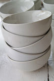 Stack of white bowls Royalty Free Stock Photography