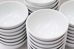 Stack of white bowls Royalty Free Stock Photos