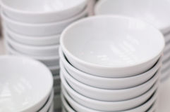 Stack of white bowls Stock Images