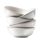 Stack of white bowls isolated on white background. Stock Photo