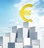 Stack of white boxes with euro sign Stock Image