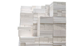 Stack of white bricks for construction building isolated Royalty Free Stock Images