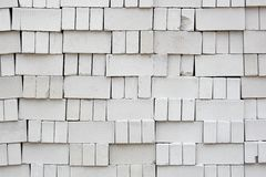Stack of White Bricks. On construction site Stock Photos