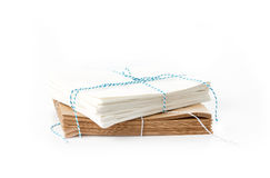 Stack of white and brown paper bags Stock Images
